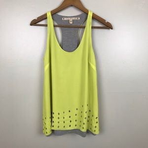 CHELSEA & VIOLET T Back Tank X-Small Yellow Gray